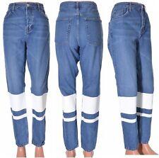 Topshop Hayden Denim Jeans White Stripe Boyfriend Wide Leg Relaxed Size 12 L34