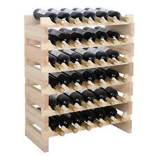 36 Bottles Wood Wine Rack Storage Display Shelves Kitchen Decor Natural 6 Tiers