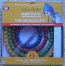 Boye Knifty Knitter Round Loom Set 7 Piece 4 Looms Hook Needle Knitting Wheels