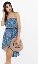 Express Women's Size XS Blue Floral Chiffon Faux Wrap Strapless Dress Hi-low NWT