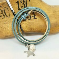Blue Leather Wrap Bracelet Freshwater Pearl and Sterling Silver Star or Heart
