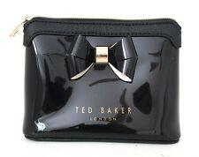 TED BAKER patent mini purse clutch bow case zipper black gold