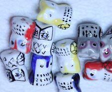 10 fait à la main Porcelaine Hibou Perles 17 mm x14mm multi couleurs (BBA004)