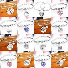 Women Men Heart Silver Bangle Charm Chain Bracelet Mothers Gifts Pendant Jewelry