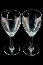 TWO BACCARAT COLLECTIBLE FRENCH FRANCE CRYSTAL 6 INCH WHITE WINE GLASSES GLASS