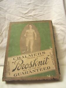 Antique Chalmers Porosknit Guaranteed Men's Union Suit Advertising Green Box