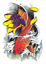 Temporary Tattoos Large Arm Body Waterproof Sticker Removable Arm Koi Fish