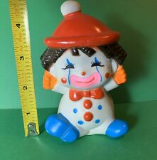 """Vintage 1974 The First Years 4.5"""" Clown squeak Toy 70s Squeaker CLEAN"""