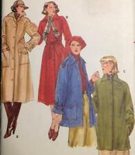 "UC 70s Vtg Butterick 5078 Sew Pattern Trench Coat Jacket Lined 34"" Sz 12 Pockets"