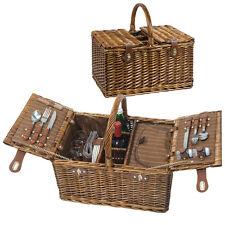 Hochwertiger Picknickkorb für 4 Personen - mit Kühlfach und viel Zubehör
