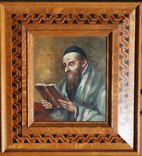 Rabbi mit Buch, Öl auf Karton, signiert, aufwendig intarsierter Rahmen