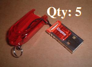 Kingston USB 2.0 microSD Flash Memory Card Reader FCR-MRR (Red) Lot of 5
