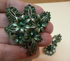 """Mid Century Green Rhinestone Enamel Floral Bouquet Pin 2.25""""  Earrings 1.5"""" Set"""