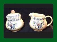Johnson Brothers Blue Owl Sugar & Creamer Set Staffordshire