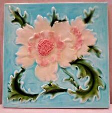 MAJOLICA TILE VINTAGE ART NOUVEAU CERAMIC GLAZED ENGLAND H&R JOHNSON LTD OLD#463