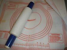 Vtg Tupperware Fill & Chill Blue Handled Rolling Pin & Pastry Sheet Mat Set