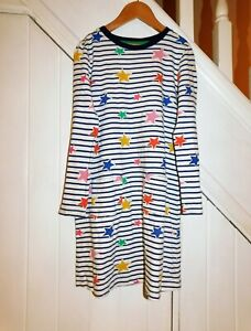 MINI BODEN AGE 8/9 YEARS - LONG SLEEVE STRIPED AND STAR PRINTED DRESS