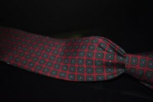 #1 MENSWEAR Drakes England Wooly Challis Tie Red Green Medallion Untipped NR #6