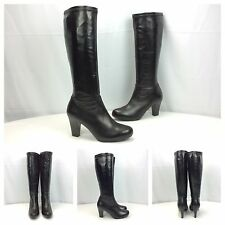Geox New Marian St Black Fashion Heels Stretchy Knee-high Boots Sz 39.5 9.5