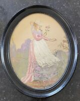 Antique Embroidery Georgian Silk 19th Century 1800s 1700s Picture Framed Retro