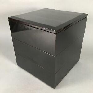 Japanese Lacquer ware Bento Box Vtg Jubako Wood 3Tier Black Glitter Gold JB68