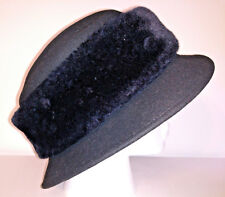 BETMAR HAT Womens Bucket Hat Black Wool With Fur Band One Size