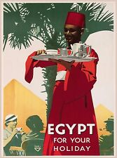 Egypt For Your Holiday Vintage Egyptian Travel Advertisement Art Poster Print