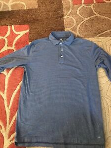 PETER MILLAR MOUNTAINSIDE COLLECTION LONG SLEEVE POLO MENS SMALL  S BLUE STRIPE