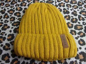 New Ladies Mens Unisex Furtalk Mustard Yellow Chunky Ribbed Knitted Beanie Hat