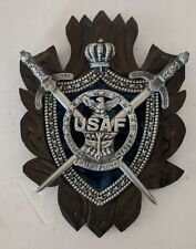 Vintage USAF United States Air Force Wall Plaque Coat of Arms Handmade MCM