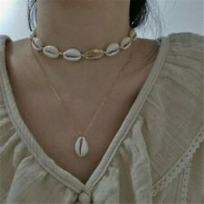 UK BOHO SHELL CHARM DOUBLE LAYER CHOKER NECKLACE Gold Beach Ocean Jewellery