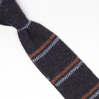 Gladson Mens Knit Wool Silk Blend Necktie Navy Orange Light Blue Stripe Tie