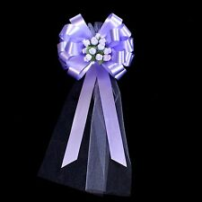 6 Lavender Lilac Pull Pew Bows Tulle Rosebuds Church Beach Wedding Decorations