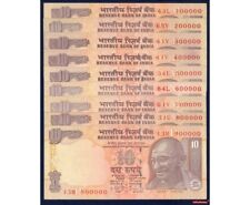 New listing India Fancy Solid Number Set Lot Of 9 Banknotes 10 Rs P-102 Unc Scarce