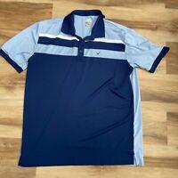 Callaway Opti-Dri Golf Polo Shirt Men's Large Blue Striped Short Sleeve