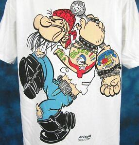 vintage 90s POPEYE GUNS N' ROSES PARODY CARTOON T-Shirt LARGE rock metal