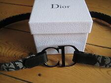 Vintage Christian Dior CD Black and White Leather Belt