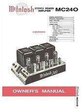 McINTOSH MC240 STEREO VACUUM TUBE AMPLIFIER OWNER'S & SERVICE MANUAL + FLYER !!!