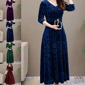 Womens Velvet Floral Swing Dress Ladies Long Sleeve Party Pullover Maxi Dresses