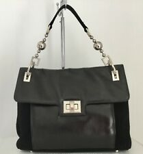 Russell & Bromley Black Suede & Leather Bag With Feature Strap VGC