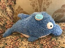 Rare NEW HALLMARK FLIPFLOP Bottle nose makes DOLPHIN sounds PLUSH STUFFED BLUE