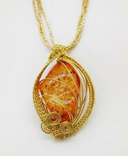 NECKLACE, LADIES' AMBER WIRE WRAPPED PENDANT, 3 STRAND BEADED NECKLACE - 8003