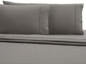Wamsutta 350-Thread-Count Egyptian Cotton Sateen Twin Sheet Set in Grey, NEW