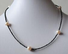 Spinellkette, Schwarzer Spinell facettiert mit Süsswasser Perlen, Halskette