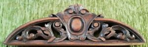 BEAUTIFUL FRENCH ANTIQUE HAND CARVED WOOD PEDIMENT 19TH CT