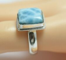 Top quality Ring Larimar Blue 925 Silver Gem Stone Size 7.5 (4.5 G) A793