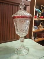 Crystal Diamond Point Chalice Ruby Red Band Urn Candy Dish Indiana Glass Co.
