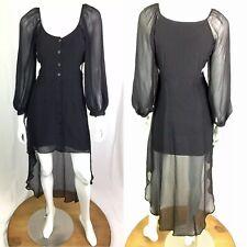 $168 Fabulous Agilita Womens Black Chiffon High Low Shirt Dress Anthropologie XS