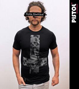 Pistol Boutique Homme Noir Standard Moulant Col Rond Crâne Croix Crânes T-Shirt