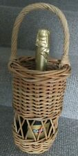 More details for round wicker wine / bottle holder carrier basket with handle